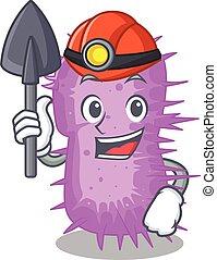 baumannii, caricatura, capacete, ferramenta, desenho, acinetobacter, conceito, mineiro