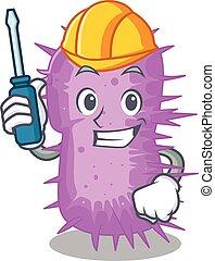 baumannii, caricatura, personagem, trabalhado, acinetobacter, automóvel