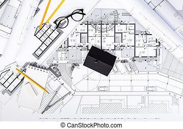 skizzen wohnung entwerfer arbeitsbereich stockfotografie suche bilder und foto clipart. Black Bedroom Furniture Sets. Home Design Ideas