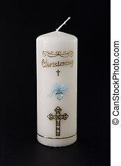 bautizo, detalle, vela, azul, blanco