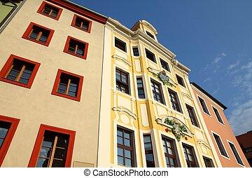 Architecture in Bautzen (Budysin) - town in Saxony (Sachsen) land in Germany.