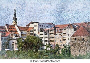 Bautzen (Budysin) - town in Saxony region, Germany. Old town skyline.