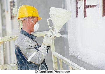 bauunternehmer, fassade, verputzer, arbeiter