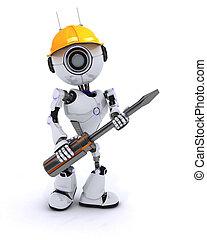 bauunternehmer, roboter, schraubenzieher