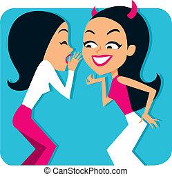 bavardage, filles, deux, illustration
