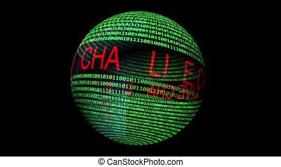 bavarder, binaire, tourner, sphère, vivant, données