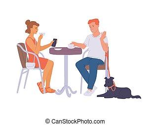bavarder, café, vecteur, couple, illustration, isolated., plat, rue, table