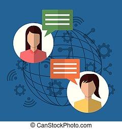bavarder, gens, communication, dialogue, internet, bulles