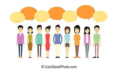 bavarder, gens, foule, bulle, désinvolte, réseau, social, communication, groupe, asiatique, concept