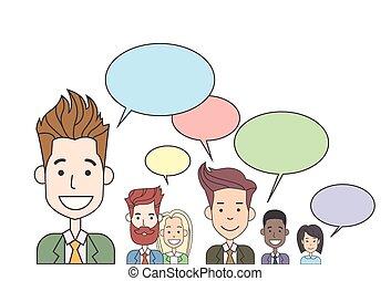bavarder, gens parler, business, réseau, communication, ...