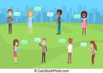 bavarder, gens, téléphones mobiles, autre, chaque, utilisation