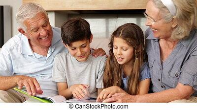 bavarder, grands-parents, petits-enfants