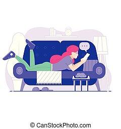 bavarder, jeune femme, coucher divan