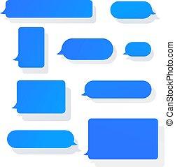bavarder, notification, bavarder, mobile, messages, sms, bulles, plat, vecteur, dessin animé, illustration