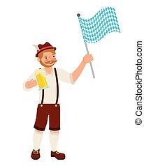 bavarese, bandiera, birra, uomo