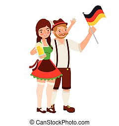 bavarese, donna, bandiera, birra, uomo
