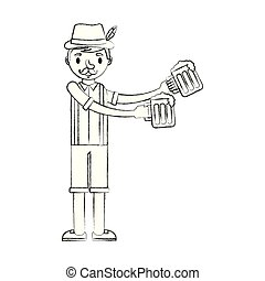bavarese, due, birra, presa a terra, uomo, occhiali