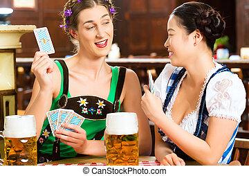 bavarese, pub, birra, cartelle, bere, amici, gioco