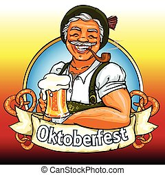 bavarese, tubo, birra, fumo, uomo sorridente