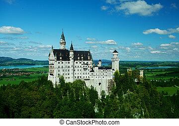 bavaria, 春, -, neuschwanstein, ドイツ, 風景, 城