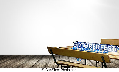 Bavaria Beer bench set table and bench with backrest...