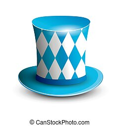 Bavaria Hat. Oktoberfest background. Bavarian flag color.