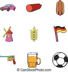 Bavaria icons set, cartoon style