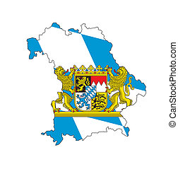 isolated map of bavaria region with flag