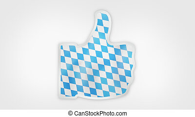 bavaria munich oktoberfest flag thumbs up icon 3d render