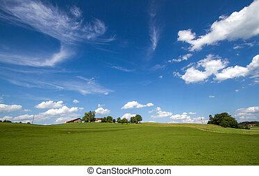 bavaria, panorâmico, alemanha, paisagem, primavera