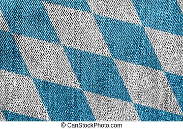 Bavaria Textile Industry Or Politics Concept: Bavarian Flag Denim Jeans