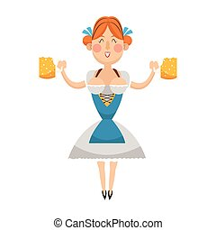bavarian, 婦女, 啤酒, 圖象