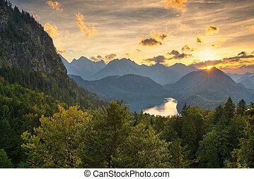 Bavarian Alps landscape in Germany at Dusk.