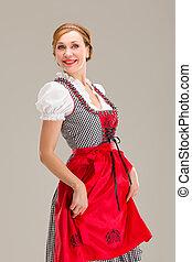 bavarian, branca, isolado, fundo, menina, sobre