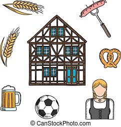 Bavarian culture and traditions icons