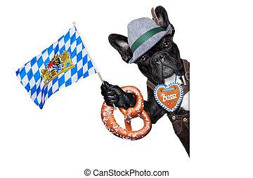bavarian german dog besides a white blank banner or placard waving with bavarian flag