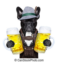 bavarian dog - bavarian german dog holding two big beer mugs...