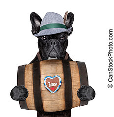 bavarian dog holding a beer barrel with gingerbread heart