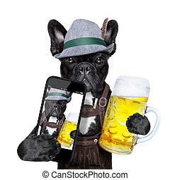 bavarian dog taking a selfie while holding a beer mug