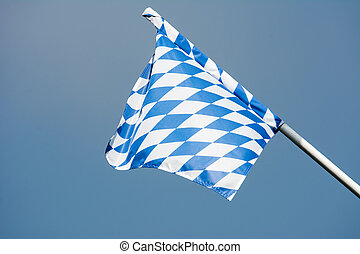 Bavarian flag blowing in the wind