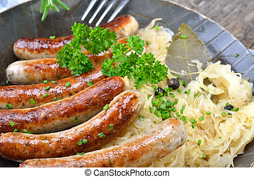 Bavarian fried sausages - Tasty bavarian sausages on...