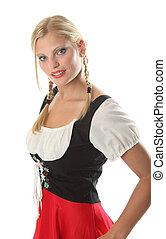 Bavarian Girl dressed in a traditional Dirndl