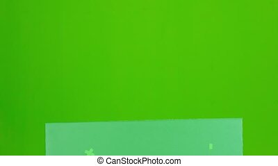 Bavarian girl looks out from behind a with a glass of beer and showing thumbs up. Green screen