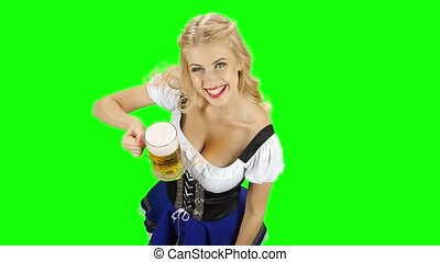 Bavarian girl offer someone a glass of beer and smiling. Green screen