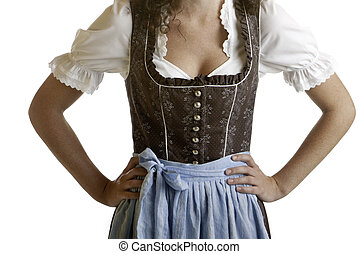 Bavarian girl wearing Oktoberfest Dirndl cloth - Closeup of...