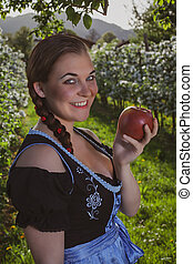 Bavarian Girl with Apple