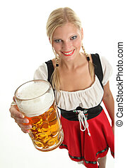 Bavarian Girl with beer - Bavarian Girl cheers with a beer...