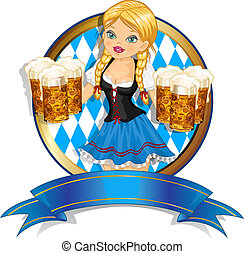 Waitress Bavaria wit beer mugs decorated-multiple levels-transparency blending effects and gradient mesh-EPS 10.