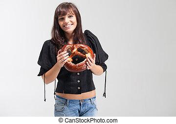 bavarian girl with pretzel