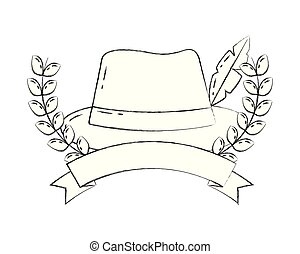 bavarian hat with feather emblem ribbon